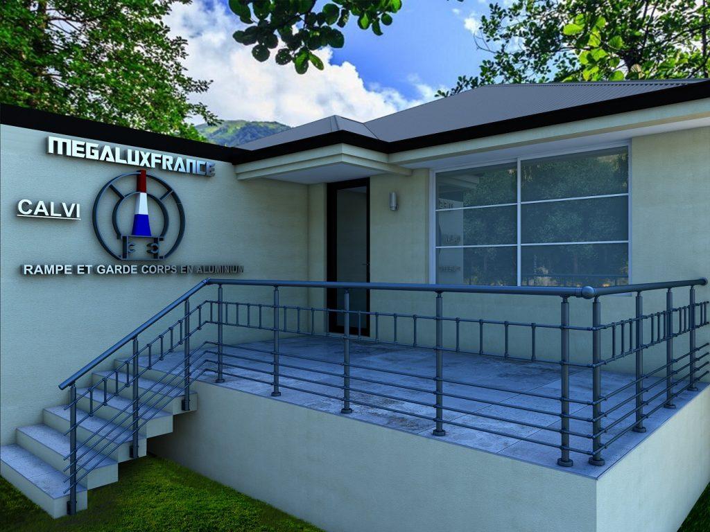 Balustrade terasse, garde corps, balustrade en aluminium modèle CALVI